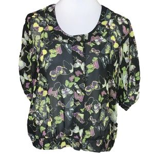 Skyes The Limit Butterfly Top Size 12 Black Green
